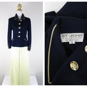 St. John Collection Navy Yellow Gold Pant Suit 4